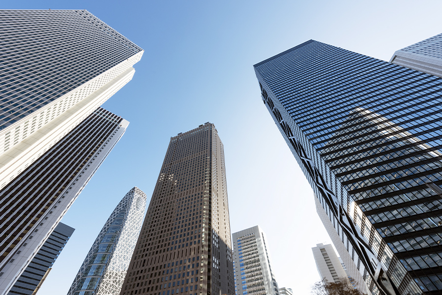 Business Insurance - Angled View of Tall Skysrapers Looking Up